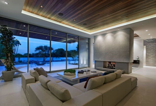Led Ceiling And Floor To Ceiling Glass Windows Cool Great Room Design Ideas