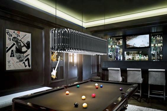 Led Ceiling Lighting Black Themed Manly Billiards Room Ideas
