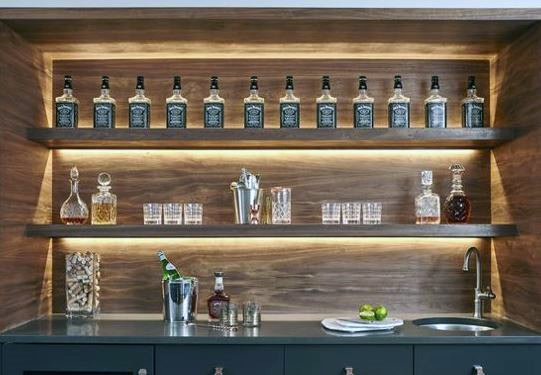 Led Lighting Shelves For Wet Bar Designs