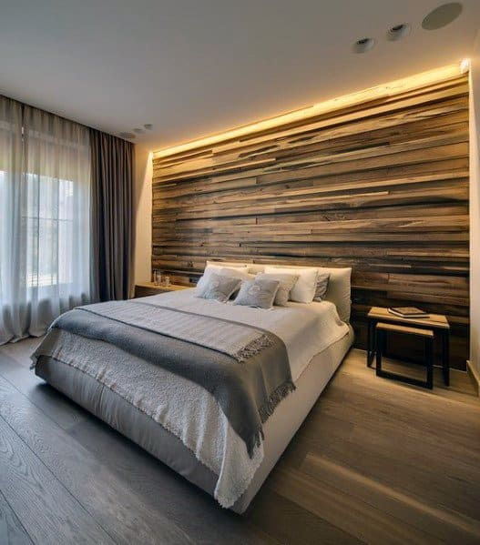 Led Lighting Wood Wall Ideas In Bedroom With Hardwood Floors
