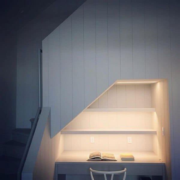 Led Staircase Built In Desk Ideas