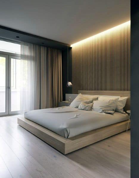 Led Strip Bedroom Lighting Ideas With Wood Wall