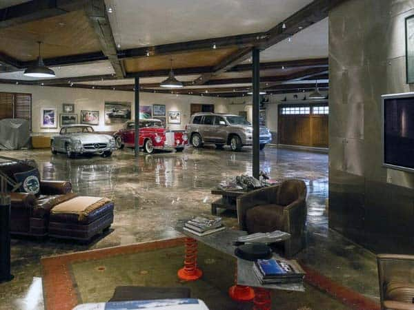 Led Track Lights With Hanging Down Pendant Lamps Inside Of Luxury Home Garage