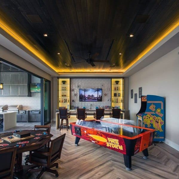 Led Wood Ceiling Game Room With Bar Design Ideas