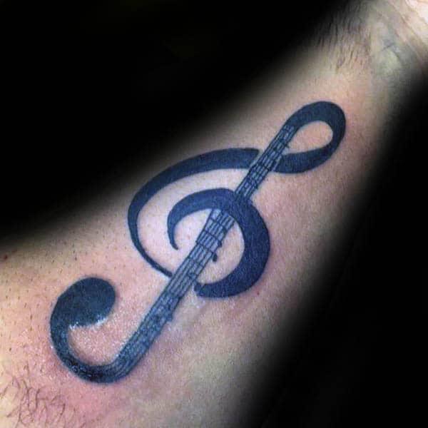 Ledger Lines Treble Clef Mens Inner Forearm Tattoo