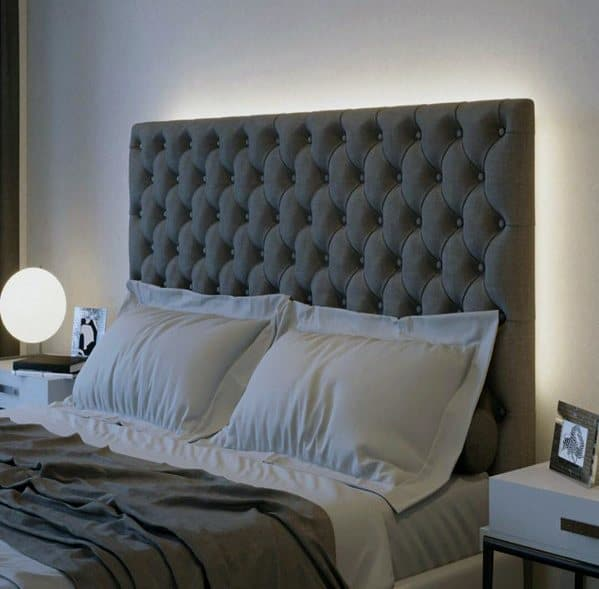 Leds Behind Tuft Headboard Impressive Bedroom Lighting Ideas