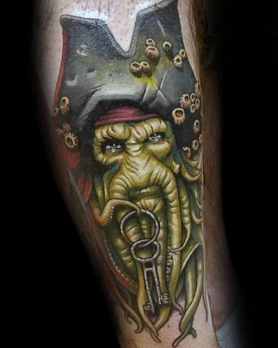 Leg 3d Davy Jones Tattoos For Gentlemen