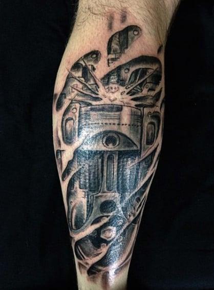 Leg 3D Mechanical Piston Tattoo For Men