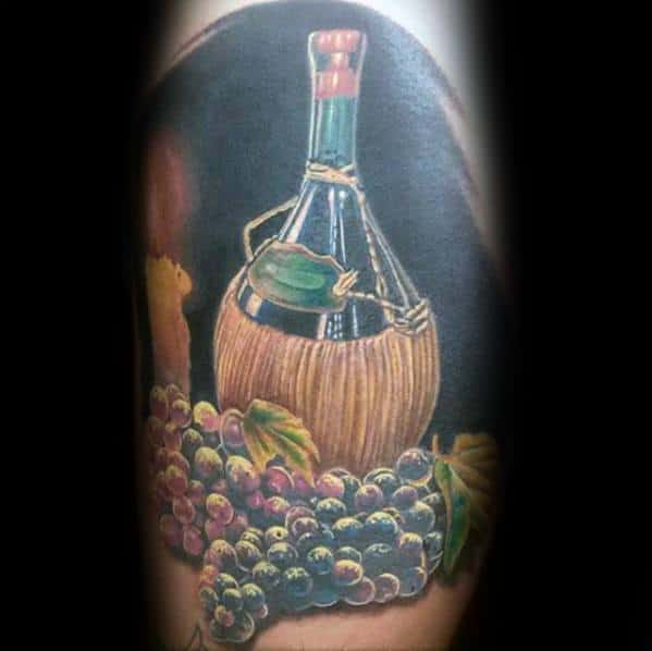 Leg 3d Mens Wine Tattoo Design Inspiration