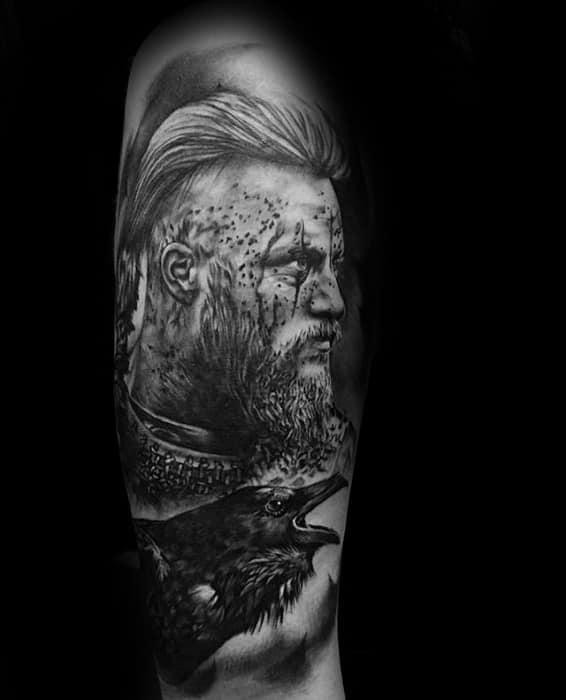 Leg 3d Portrait Black Crow With Ragnar Guys Tattoos