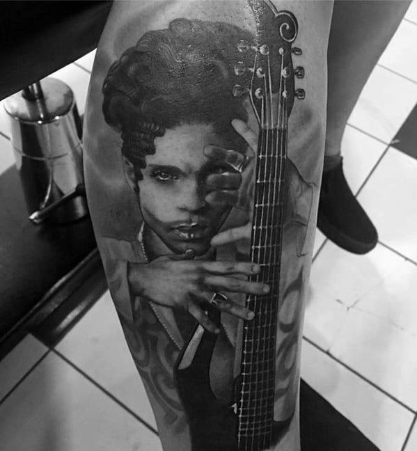 Leg 3d Realistic Prince Mens Tattoo Designs