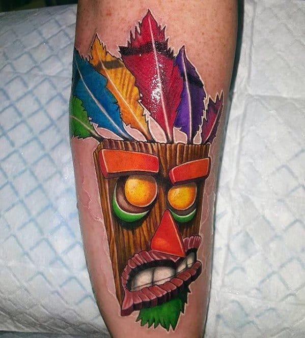 Leg Aku Aku Crash Bandicoot Guys Tattoo Ideas