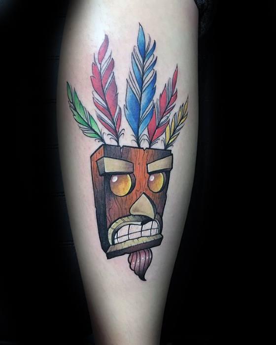 Leg Aku Aku Wood Mask Crash Bandicoot Guys Tattoos