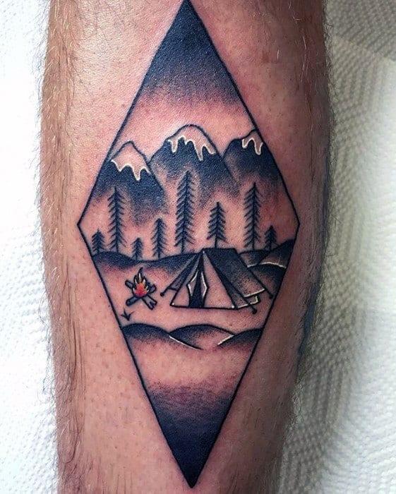 Leg Amazing Mens Tent Tattoo Designs