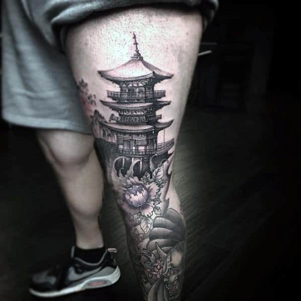Leg And Thigh Guys Japanese Temple Tattoos