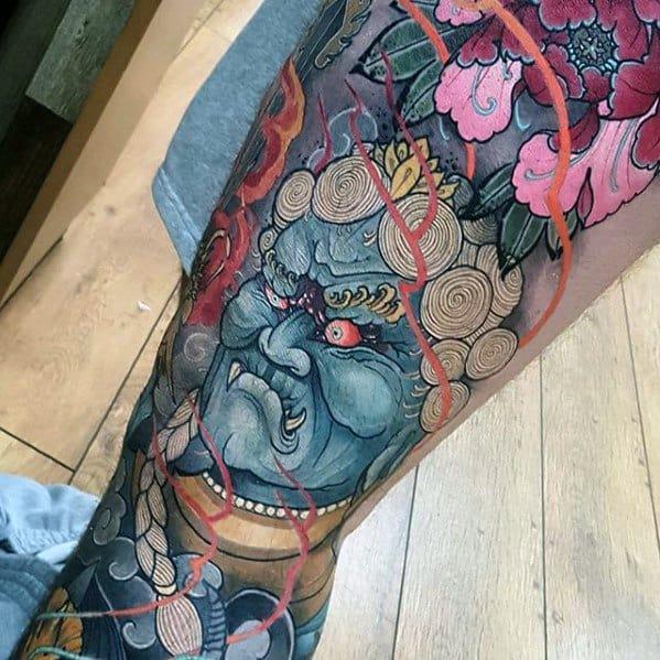 Leg And Thigh Sleeve Fudo Myoo Tattoos Men