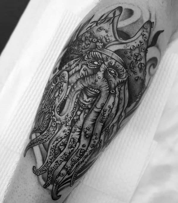 Leg Artistic Male Davy Jones Tattoo Ideas