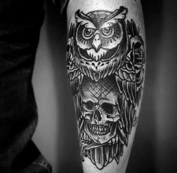 Leg Artistic Male Owl Skull Tattoo Ideas