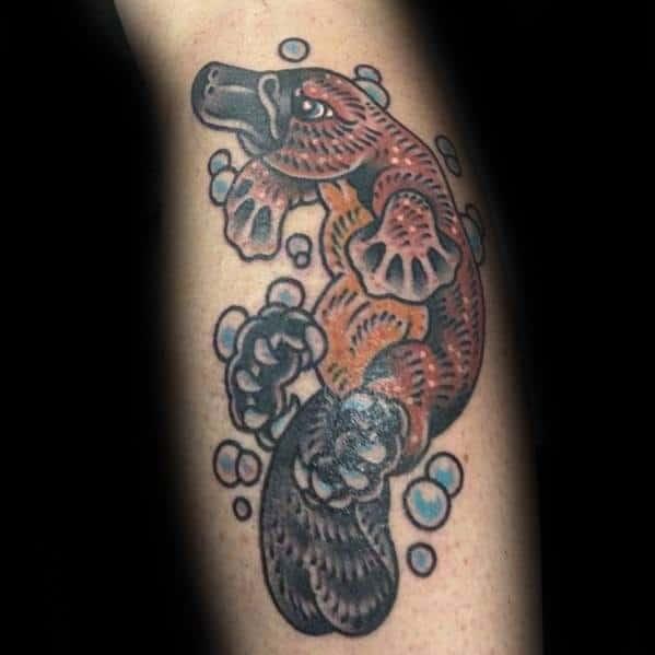 Leg Artistic Male Platypus Tattoo Ideas