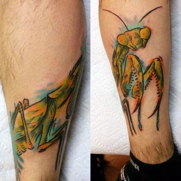 Leg Artistic Male Praying Mantis Tattoo Ideas