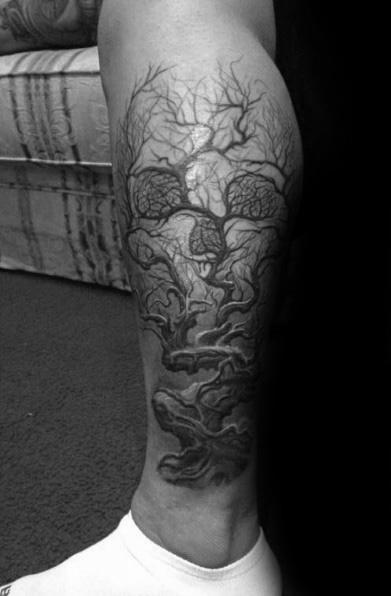 Leg Artistic Male Skull Tree Tattoo Ideas