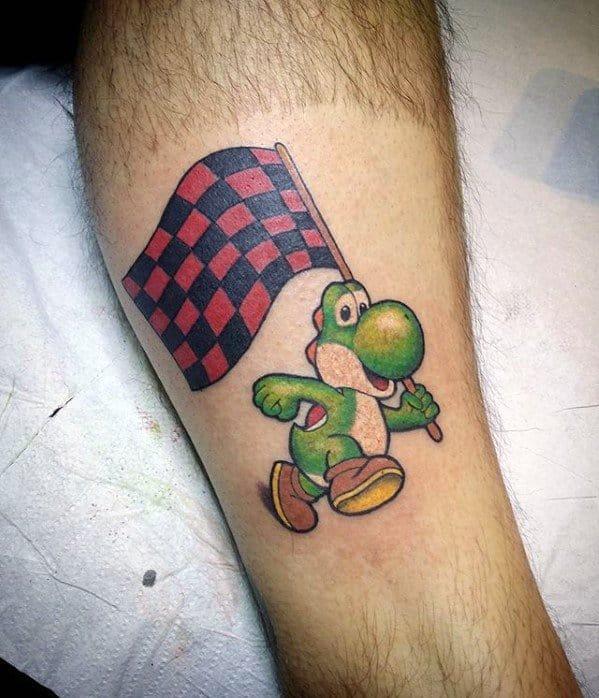 Leg Artistic Male Yoshi With Racing Flag Tattoo Ideas