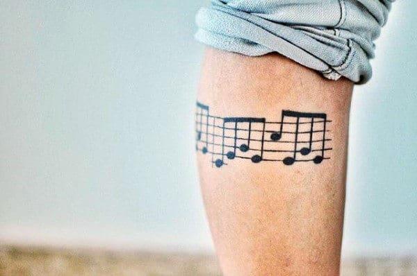 Leg Band Music Note Guys Tattoos
