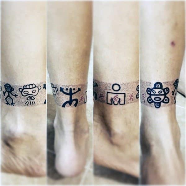 Leg Band Taino Symbols Tattoo On Guy