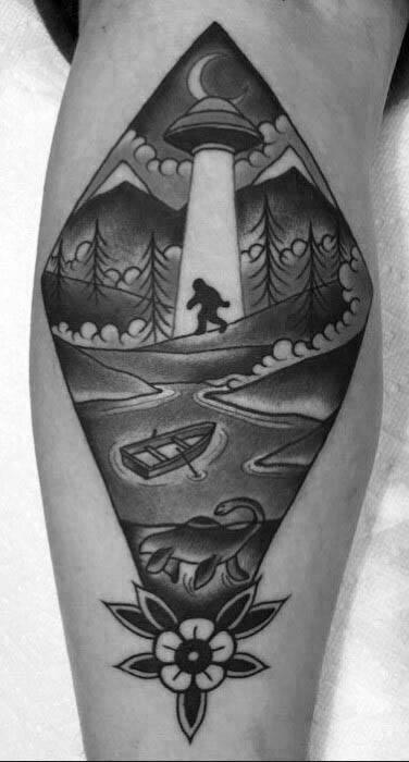 Leg Bigfoot Male Tattoos