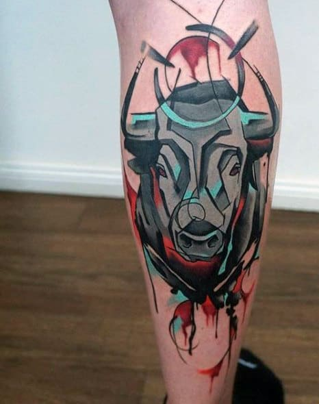 Leg Black Bull Tattoo For Guys
