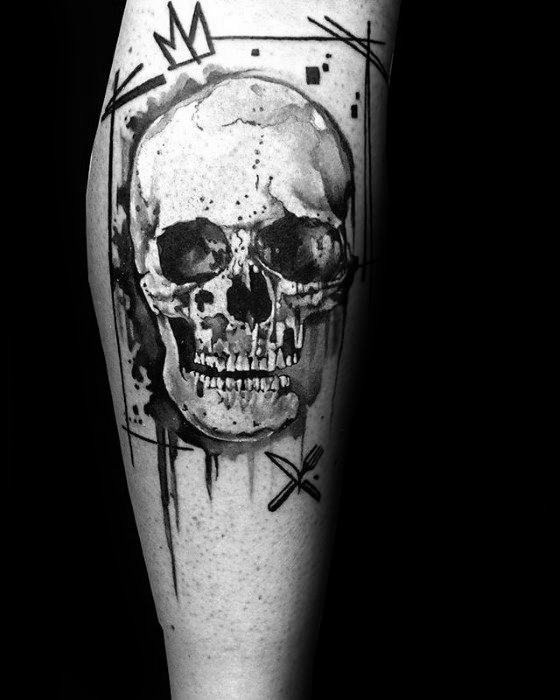 Leg Black Ink Amazing Mens Watercolor Skull Tattoo Designs