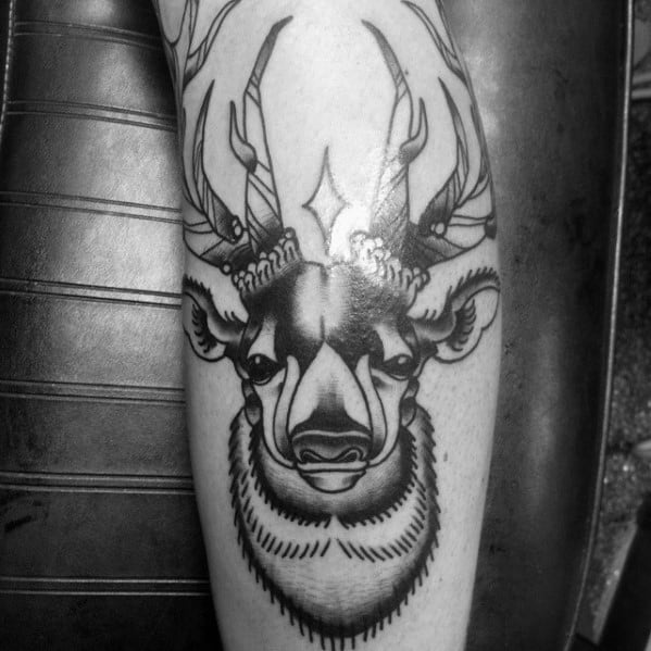 Leg Black Ink Traditional Deer Tattoos For Guys