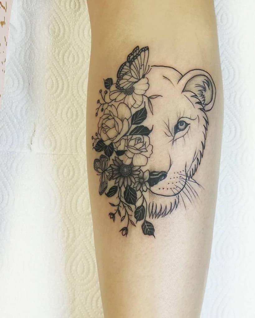 Leg Black Work Flower Lion Tattoo