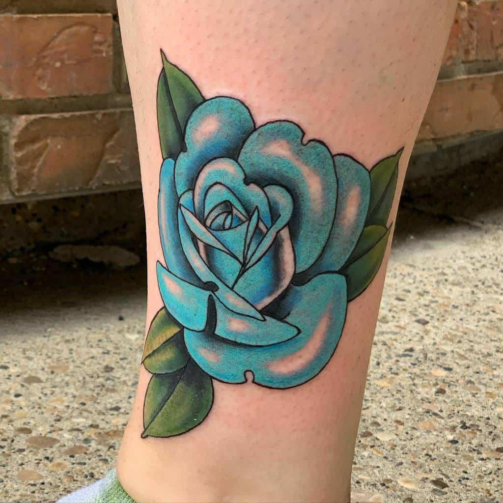 leg blue rose tattoos emily.pateytaylor