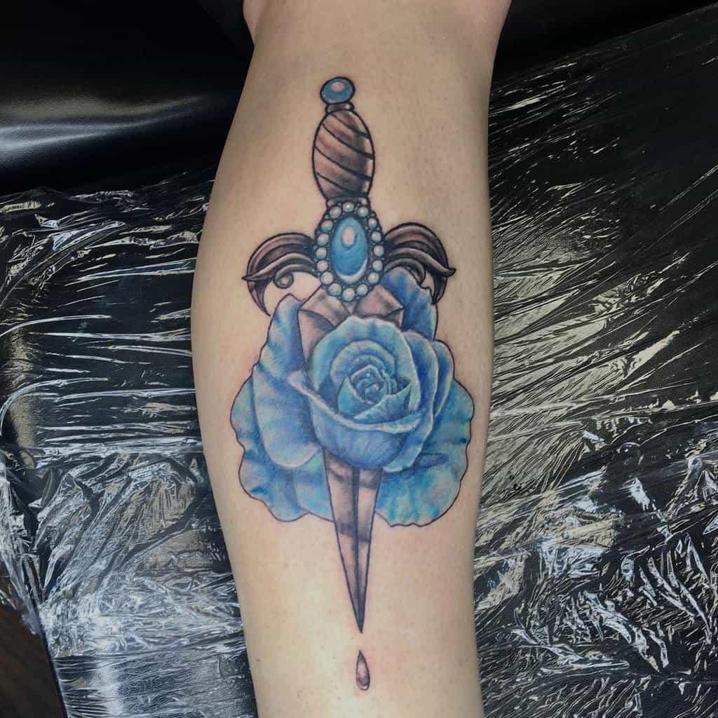 leg blue rose tattoos macystattoos