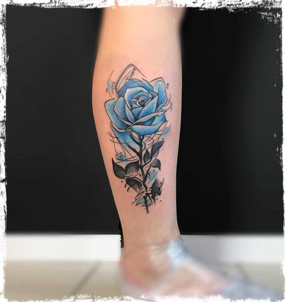 leg blue rose tattoos tatooinepiotr