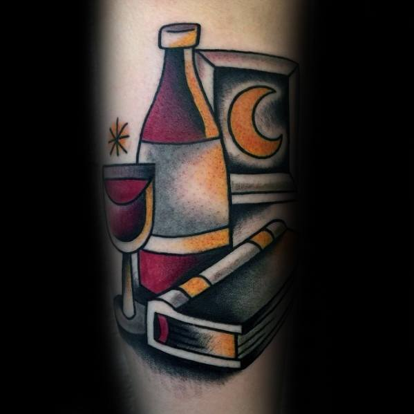 Leg Book With Moon And Wine Tattoo Ideas On Guys