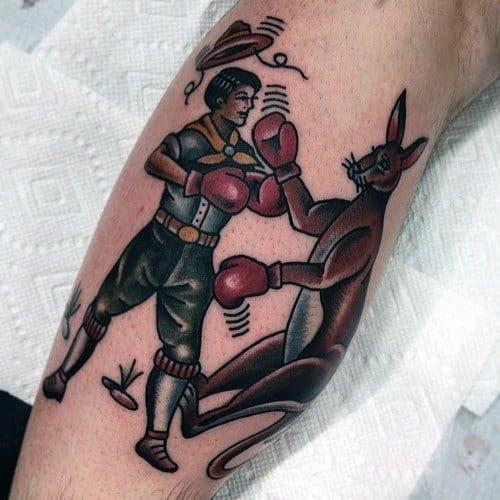 Leg Boxing Kangaroo Guys Tattoo Ideas