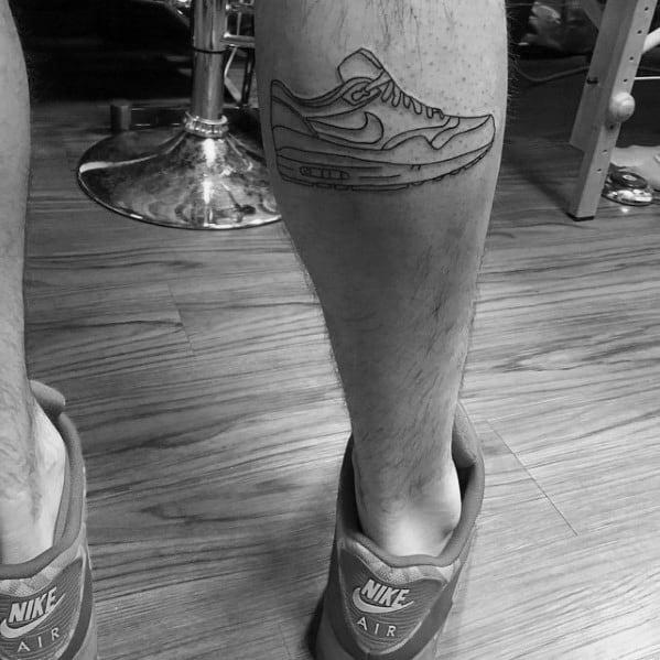 Leg Calb Mens Black Ink Outline Nike Shoe Tattoo