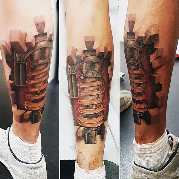Leg Calf 3d Blocks Male Suspension Tattoo Ideas