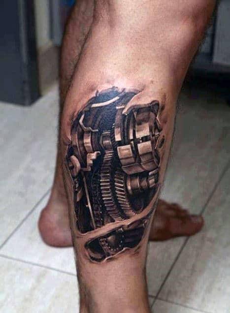Leg Calf 3d Gears Tattoo For Men