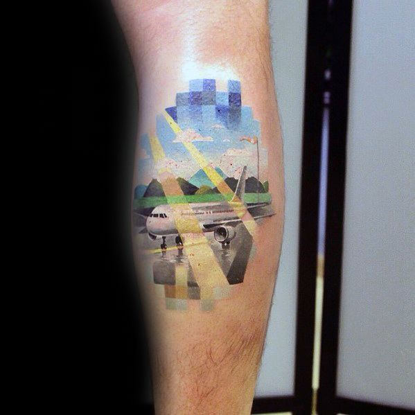Leg Calf Airplane With Clouds And Sun Rays Male Pixel Tattoo