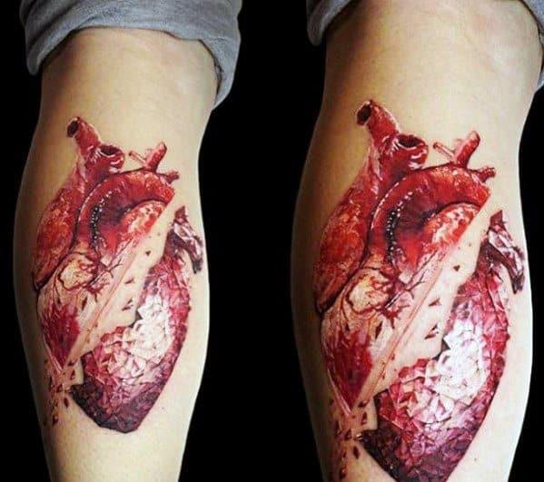 Leg Calf Anatomical Broken Heart Tattoos For Gentlemen