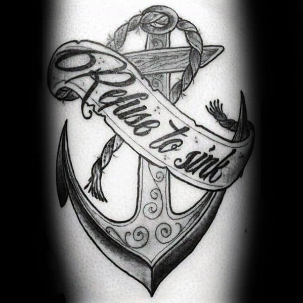 Leg Calf Anchor And Banner Mens Tattoo Refuse To Sink Design