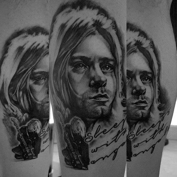 Leg Calf Artistic Male Nirvana Tattoo Ideas