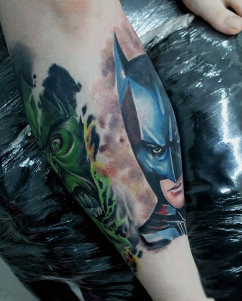 Leg Calf Batman Tattoos For Guys
