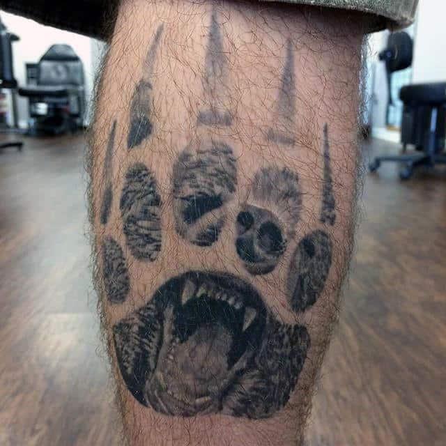 Leg Calf Bear Claw Tattoo On Gentleman