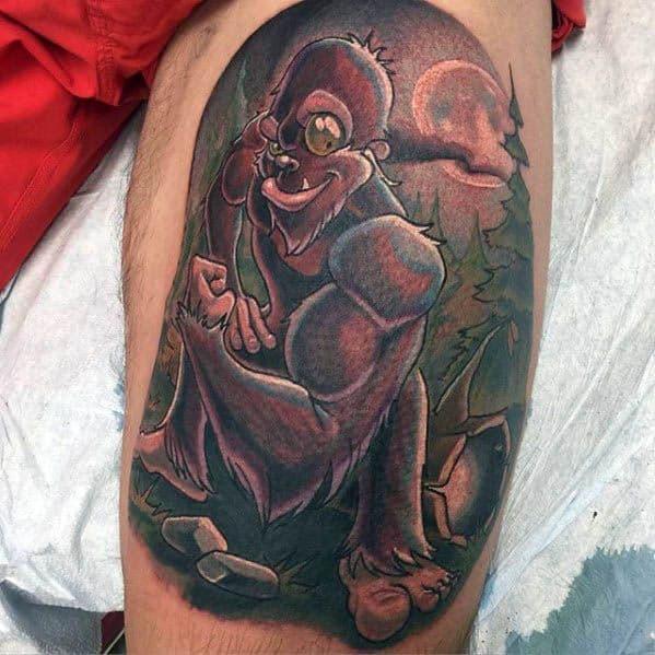 Leg Calf Bigfoot Male Tattoo Designs