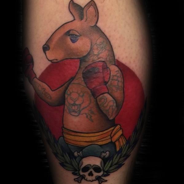 Leg Calf Boxing Male Tattoo With Kangaroo Design