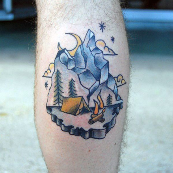 Leg Calf Camping With Mountains And Tent Tattoo Ideas For Gentlemen